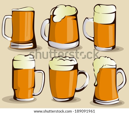 Beer mug set - stock vector