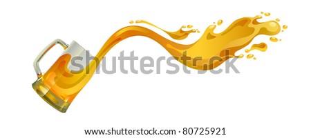 Beer mug with splash over white background - stock vector