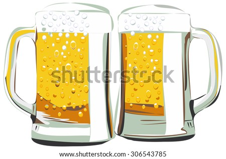 Beer mugs vector illustration, isolated on white - stock vector