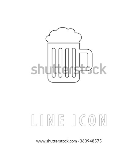 Beer Outline simple vector icon on white background. Line pictogram with text