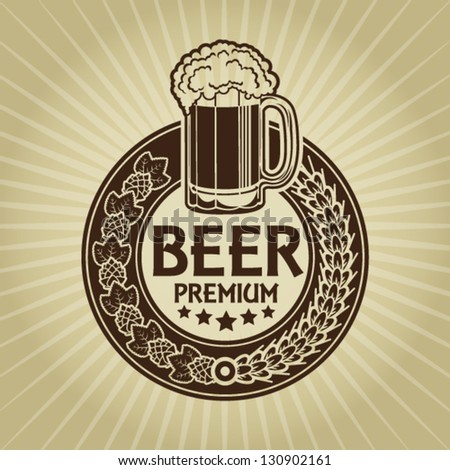 Beer Premium Retro Styled Seal / Label - stock vector