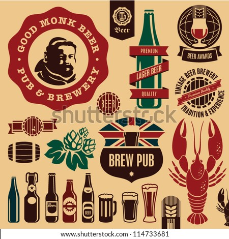 Beer pub labels, badges and icons collection. Monk beer label. - stock vector