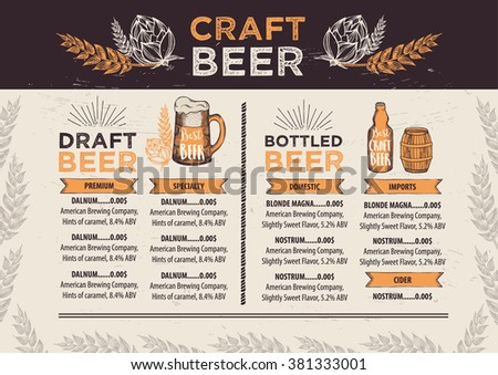 Beer Restaurant Brochure Vector Alcohol Menu Stock Vector Hd