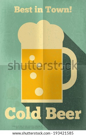 Beer Retro Poster in Retro Flat Design Style. Big Mug of Beer on Blue Background. Vector Illustration. - stock vector