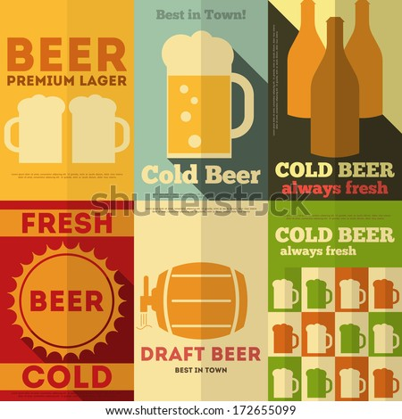 Beer Retro Posters Collection in Flat Design Style. Vector Illustration. - stock vector