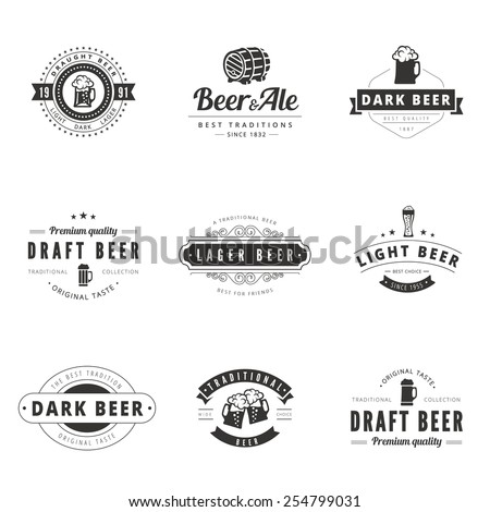 Beer Retro Vintage Labels Hipster Logo design vector typography lettering templates.  Old style elements, logos, logotypes, label, badges, stamps and symbols. Badges for st. Patrick's Day. - stock vector