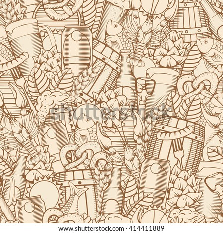 Beer Seamless Pattern in Outline Hand Drawn Doodle Style with Different Objects on Beer Theme. Beer and Snack. Monochrome. All elements are separated and editable.  Vector Illustration.  - stock vector