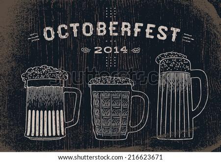 Beer set vintage sketch for Oktoberfest festival - stock vector