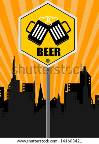 beer sign on urban background