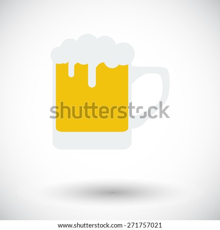 Beer. Single flat icon on white background. Vector illustration. - stock vector