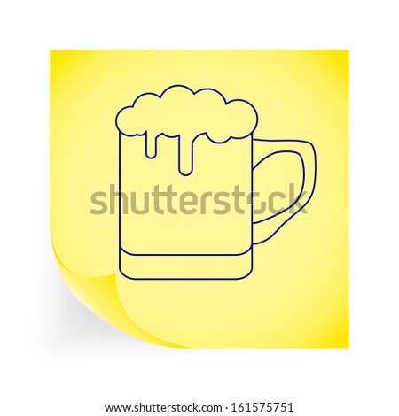 Beer. Single icon on the yellow note paper. Vector illustration.