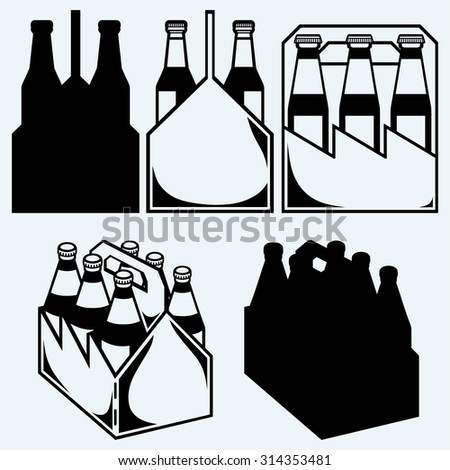 Beer six pack in three boxes. Isolated on blue background - stock vector