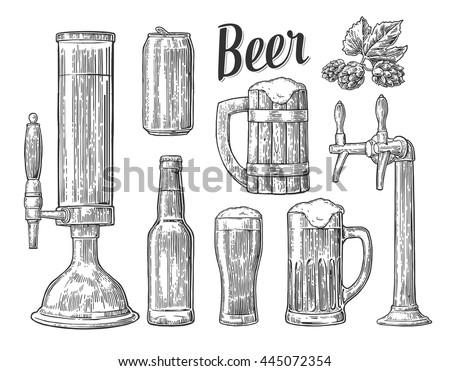 Beer Tap Class Can Bottle Barrel Stock Vector 445072354