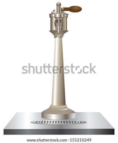 Beer tap used in bars. Vector illustration. - stock vector