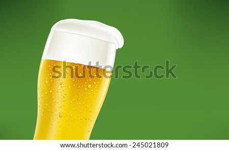 beer with foam and many fresh drops on green background - stock vector