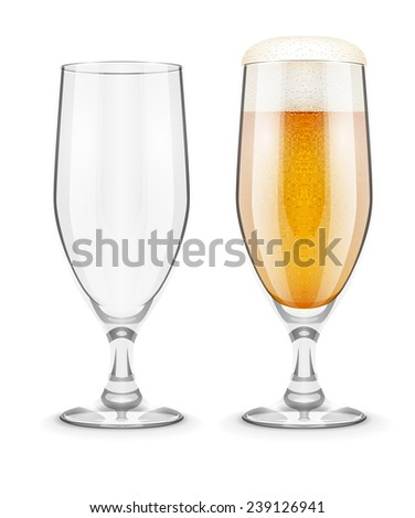 Beer with foam in glass glass goblet for pub drinking. Eps10 vector illustration. Isolated on white background - stock vector
