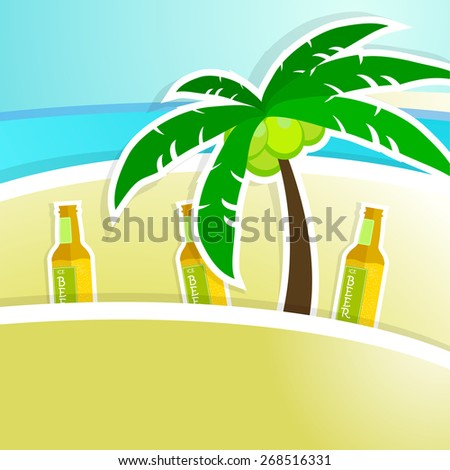 Beer with foam on bar counter. Tropical resort background. Vector illustration - stock vector