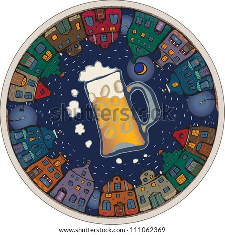 Beermat overlooking the old town at night - stock vector