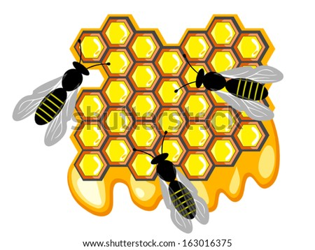 Bees and honey, bees on sweet honeycomb. Vector version, raster file available in portfolio.