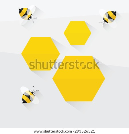 bees and honeycomb. flat design - stock vector