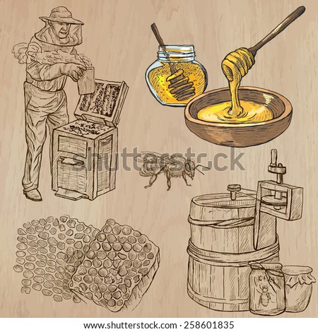 BEES, BEEKEEPING and HONEY. Collection of an hand drawn vector illustrations (pack no.5). Each drawing comprises of three or four layers of lines, the colored background is isolated. - stock vector