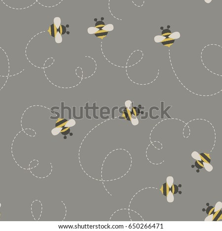 Bees Bumble Seamless Pattern Vector Wallpaper