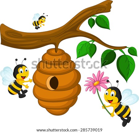 Bees cartoon holding flower and a beehive - stock vector
