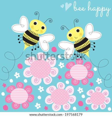 bees flower vector illustration - stock vector