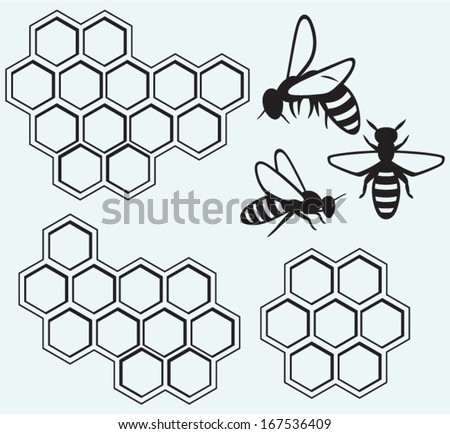 Bees on honey cells isolated on blue batskground - stock vector
