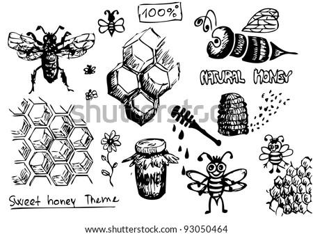 bees, wax and honey symbols - stock vector