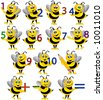 Bees with numbers. - stock vector