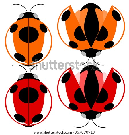 Beetle red and yellow fly cartoon illustration - stock vector