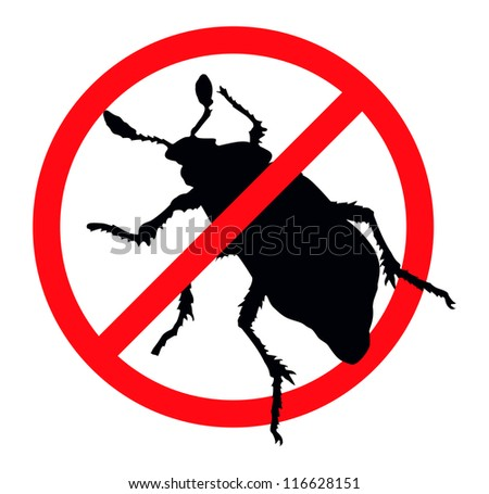 Beetle vector silhouette isolated. Insect repellent emblem - stock vector