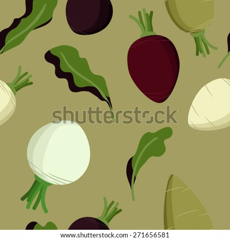 Beetroot, sugar beet and turnip vector background - stock vector