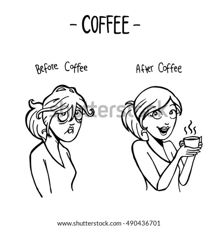 before after coffee female doodle