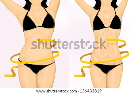 Before and after woman body - stock vector