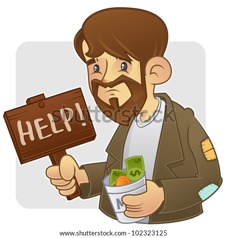 Beggar begging for money, holding wooden board with help sign - stock vector