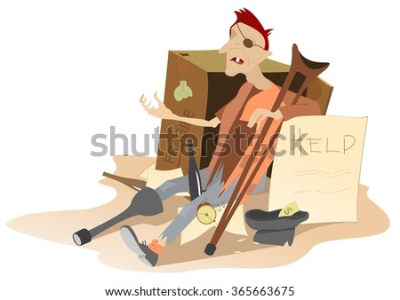 Beggar. Hungry and chilled man sits near cardboard box and asks for help and money  - stock vector