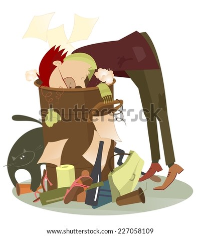 Beggar rummages in a pile of garbage - stock vector