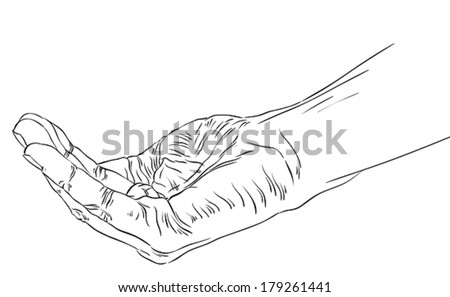 Begging hand, detailed black and white lines vector illustration. - stock vector