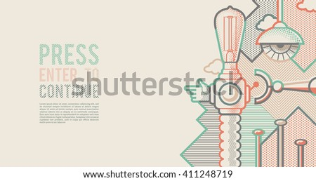 Behind reality. Light bull machine. Pop art style background - stock vector