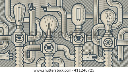 Behind reality. Light bull machines. Monochrome pop art style background - stock vector