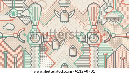 Behind reality. Light bull machines. Pop art style background - stock vector