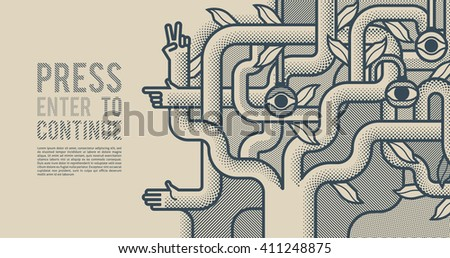 Behind reality. Mechanical tree with hands. Monochrome pop art style background - stock vector