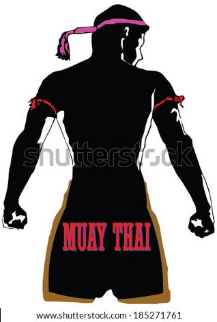 Behind the black silhouette of Muaythai character in complete suit - stock vector