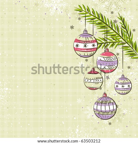 beige background with color christmas balls,  vector illustration