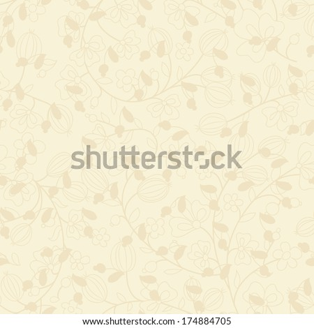 beige background with silhouettes of plants. Use as wallpaper or a neutral backdrop. seamless texture - stock vector