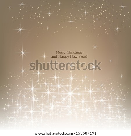 Beige beautiful Christmas background. - stock vector