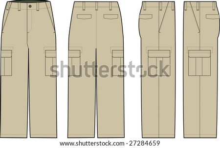 beige cargo pants illustration - stock vector