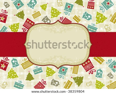 beige christmas background with christmas elements,  vector illustration - stock vector